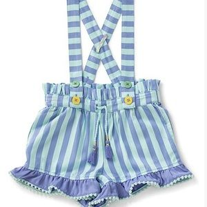 Matilda Jane Blue striped short ruffled overalls